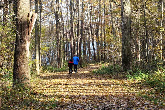 John C. Oliver Multi-Purpose Loop Trail Fall 2018 Though not real warm, this man was jogging as his son followed along on his bike enjoying a fall day on the trail!