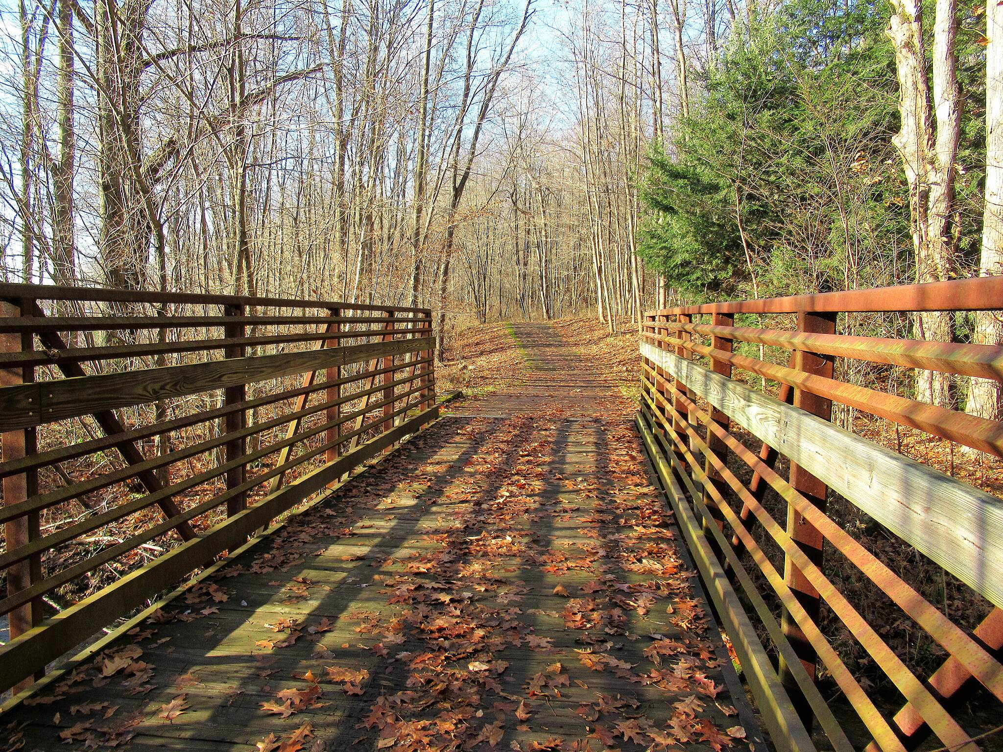 John C. Oliver Multi-Purpose Loop Trail Bridge along the trail December, 2018.  Bridge along the trail on a sunny day!
