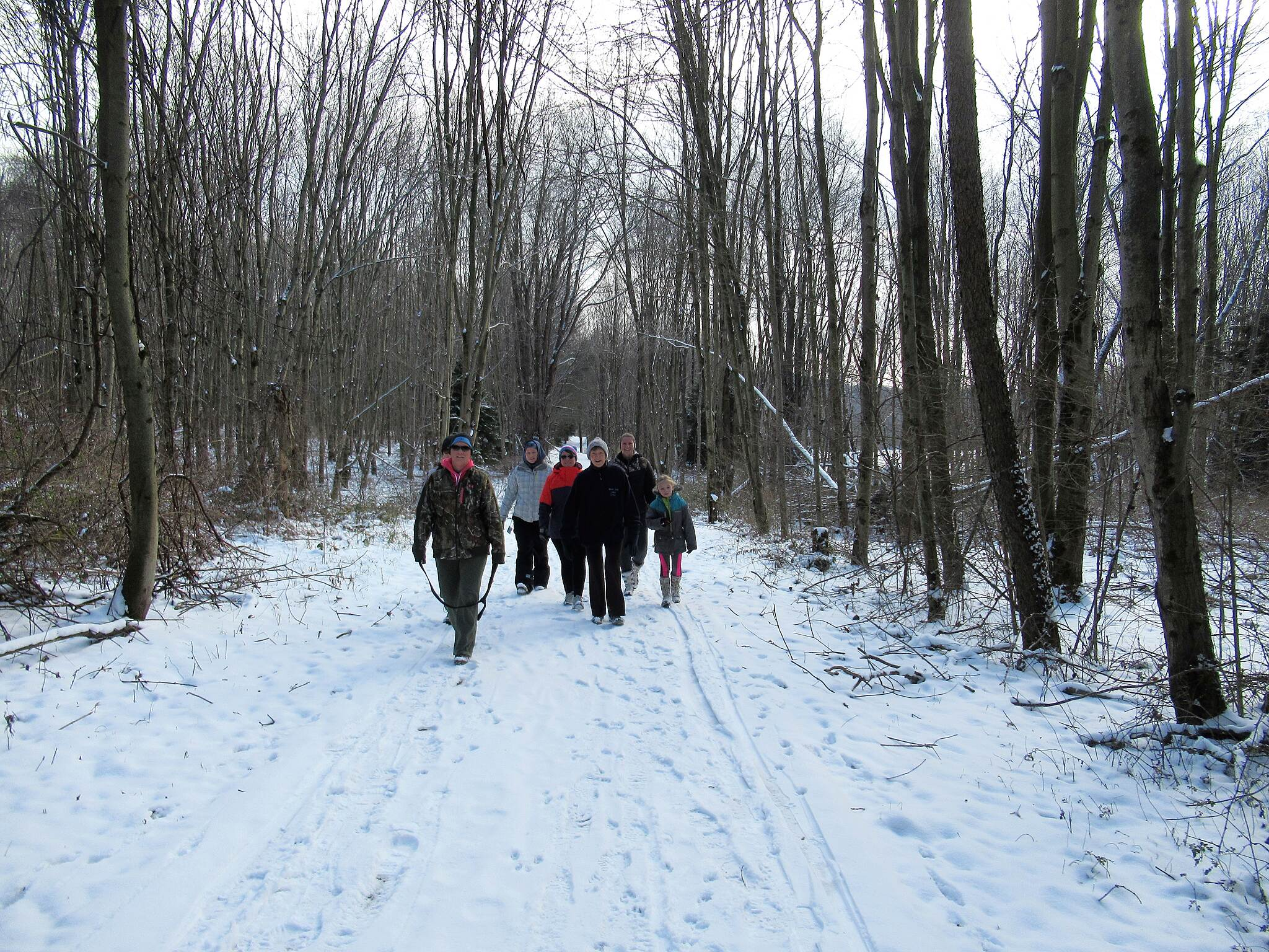 John C. Oliver Multi-Purpose Loop Trail Walkers along the trail-January 2019 A group takes in a Sunday afternoon walk on the newly fallen snow.  January, 2019.