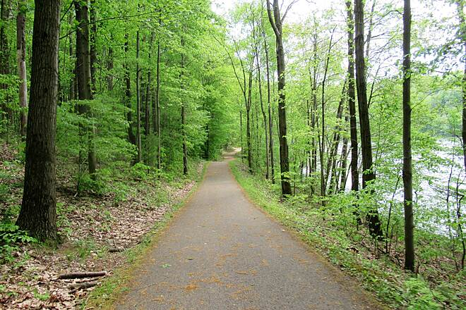 John C. Oliver Multi-Purpose Loop Trail Wooded area Wooded shaded very green section of the trail.  May, 2019