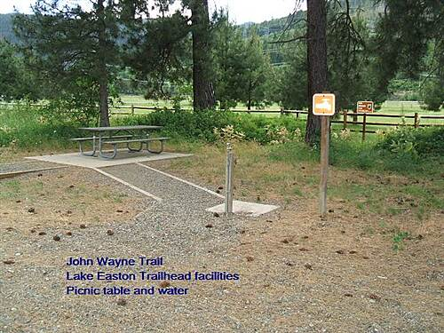 John Wayne Pioneer Trail John Wayne Trail Lake Easton Trailhead - water point and table