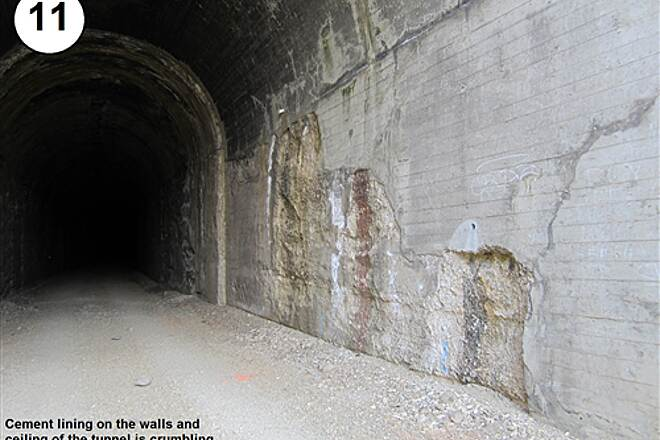 John Wayne Pioneer Trail South Cle Elum Depot to Tunnel 47 11- Cement lining on walls and ceiling is crumbling
