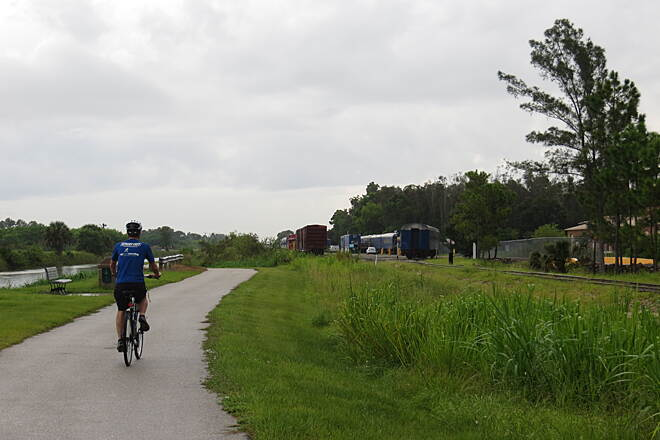 John Yarbrough Linear Park Trail Rail-with-trail The active Seminole Gulf Railway parallels the northern end of the trail.