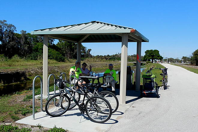 John Yarbrough Linear Park Trail Taking A Breather!  Enjoying a water and snack break with friends. Great day for a ride!