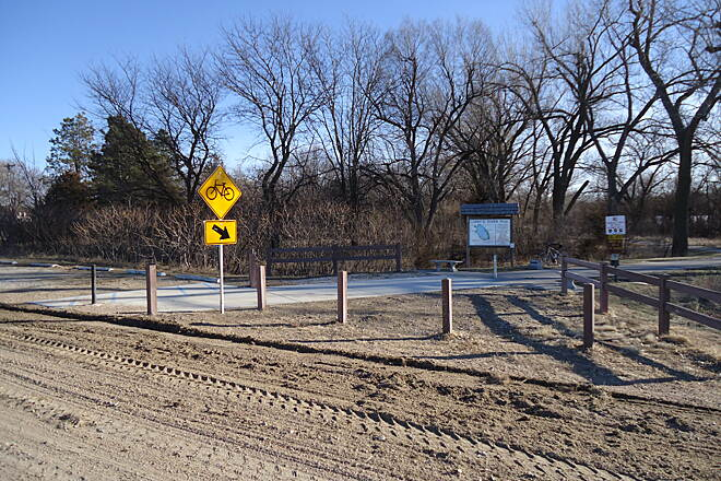 Johnson Lake Hike and Bike Trail Larry Roper Trailhead The trailhead at the north end of the Larry Roper trail provides easy trail access with public parking including handicapped access access directly onto the trail.