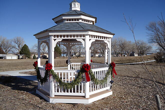 Johnson Lake Hike and Bike Trail Gazebo at Christmas Time Local volunteers decorated the gazebo near Sandy Point for the Christmas season.