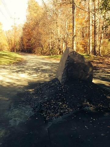 Johnson Trolley Line Trail Ewing Township Span Large Boulder set to receive info plaque