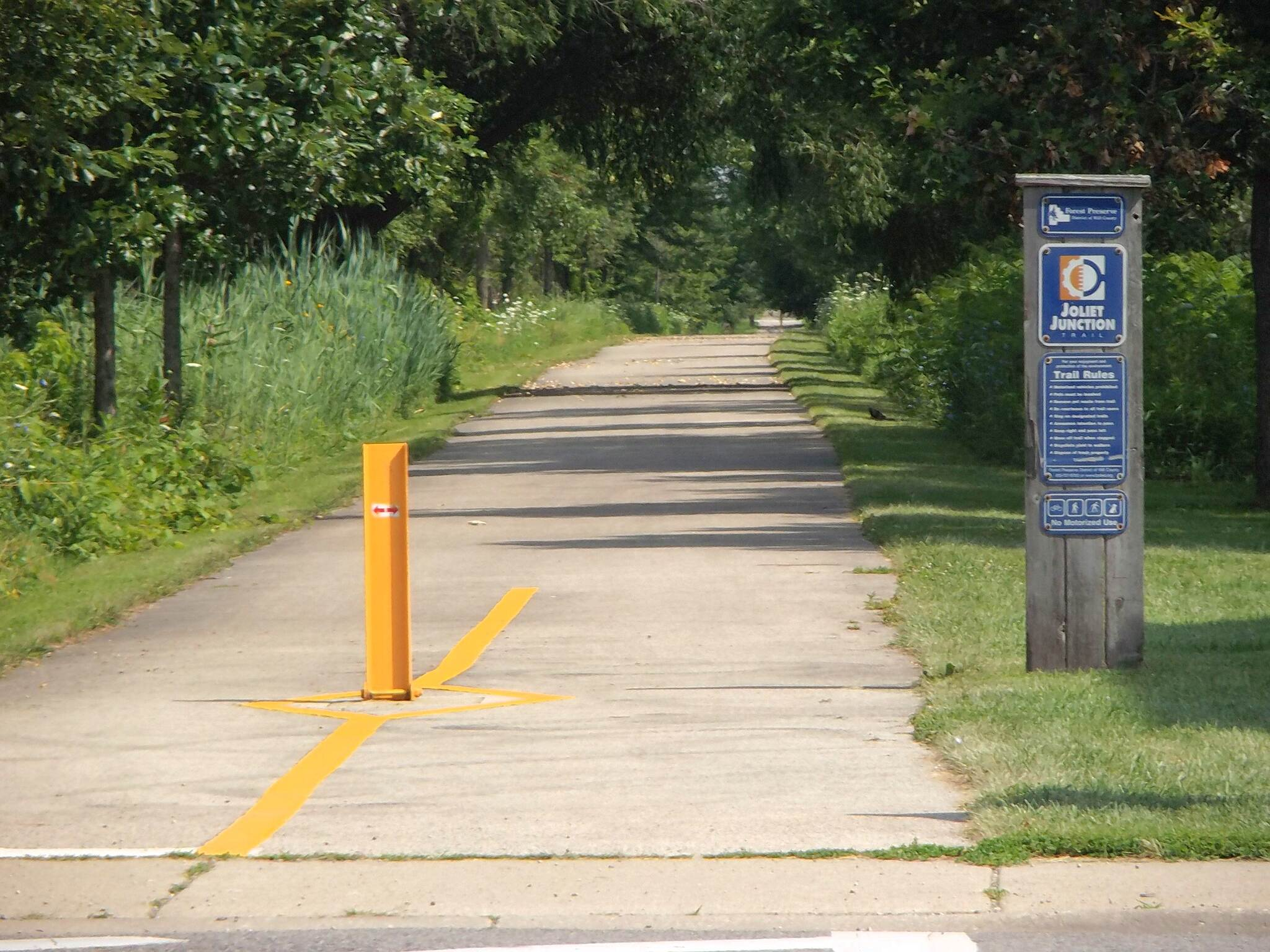 Joliet Junction Trail Looking North at Jefferson St. Tree-lined corridor by city businesses and neighborhoods.