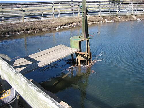 Jonathan Eshenour Memorial Trail Drainage A drainage contraption on the duck pond