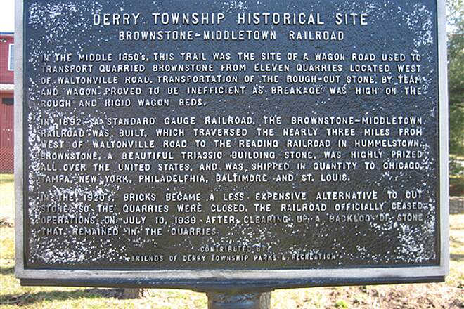 Jonathan Eshenour Memorial Trail Historic Marker A marker shares some history of part of the trail.