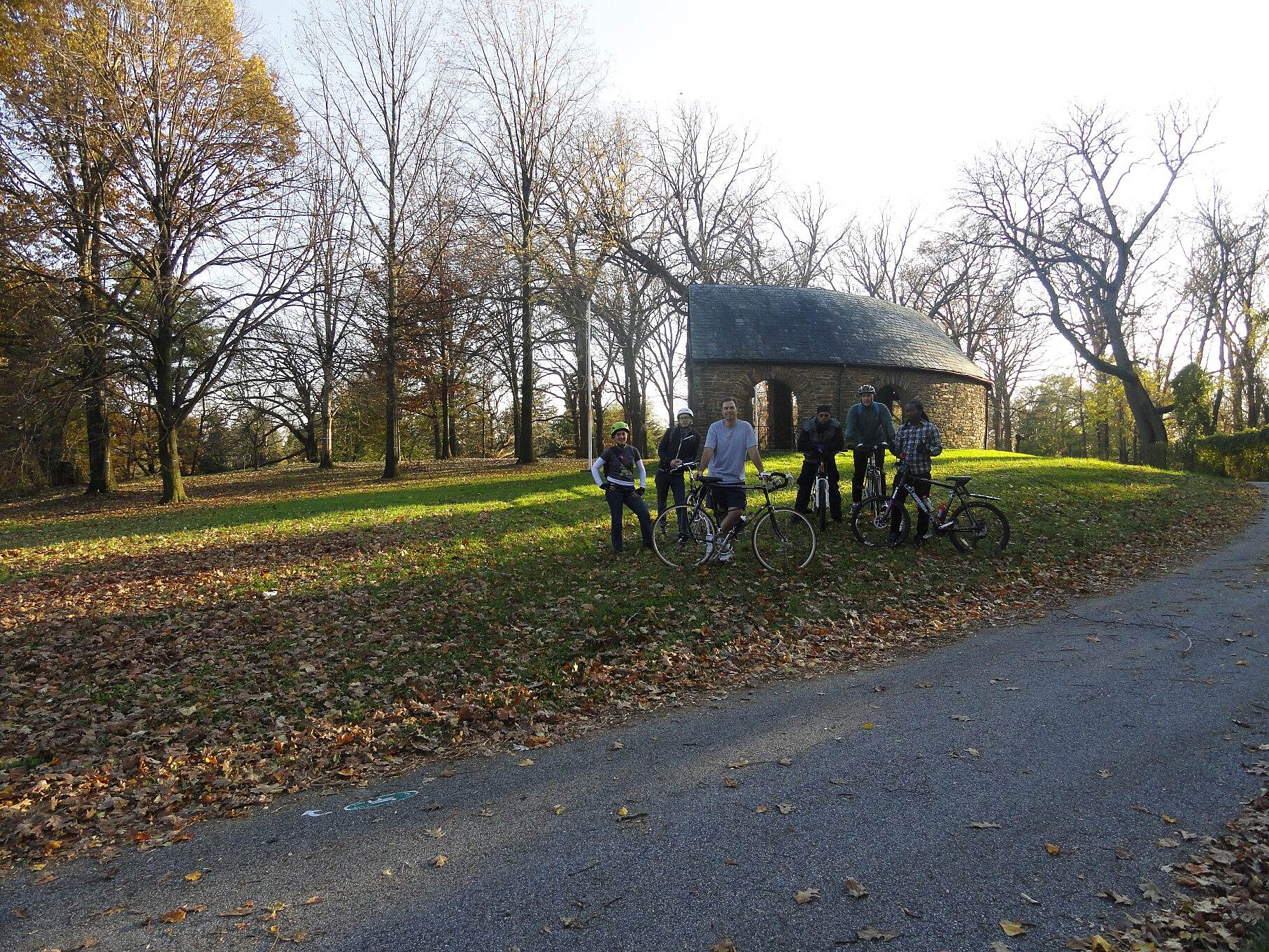 Jones Falls Trail U of Baltimore group Group of riders from the University of Baltimore at the WWI Memorial Grove