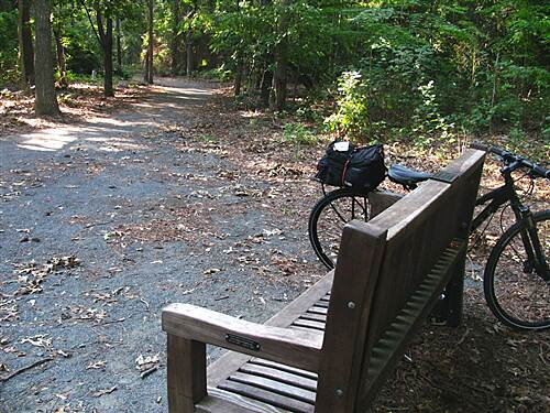Junction & Breakwater Trail Junction and Breakwater Rail Trail '7th inning stretch' memorial bench