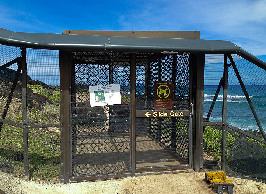 Ka'ena Point Trail  Sliding doors to continue on
