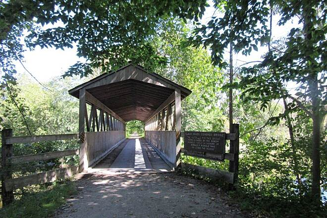 Kal-Haven Trail Sesquicentennial State Park Covered Bridge Just outside of South Haven.  Crosses the Black River.