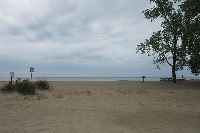 Karl Boyes Multi-Purpose National Recreation Trail Lake Erie Beach One of the beaches at Lake Erie in Presque Isle State Park.  This is along the trail.