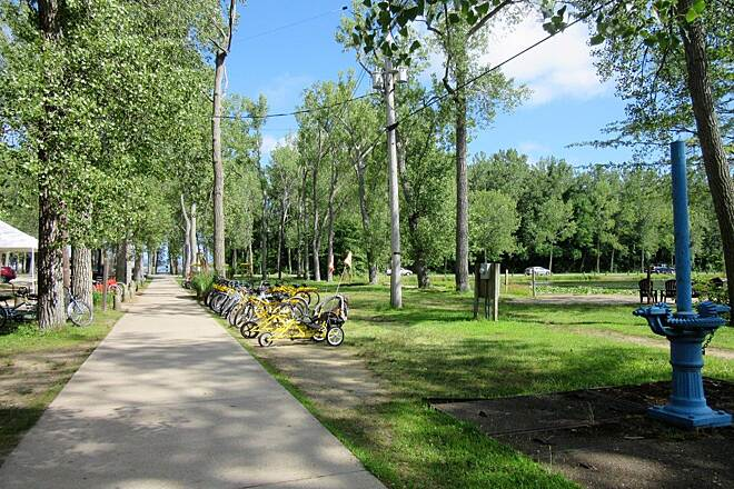 Karl Boyes Multi-purpose Trail You can rent bikes! July,2017 You can rent bicycles, in line skates and Surrey's from the rental place inside of Presque Isle State Park.  Open daily during the Summer, call for off season times.  Get out and enjoy the trail!