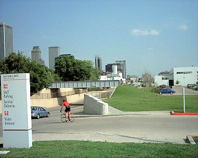 KATY Trail (Tulsa) Downtown Tulsa At the east end of the trail looking south toward downtown Tulsa. The overpass is part of abandoned MKT right-of-way. Does the bridge give any hope that there will be an eastern extension?