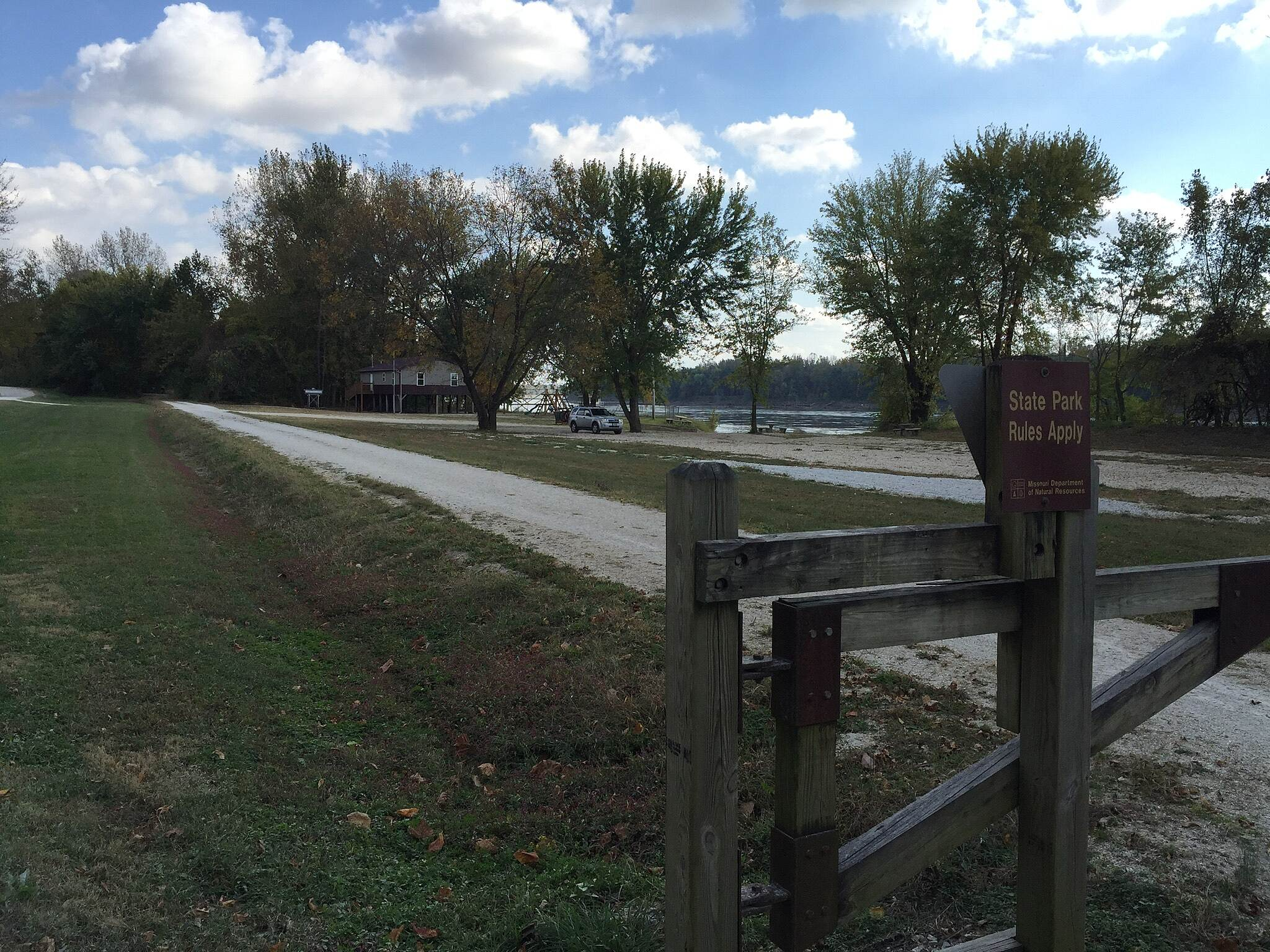 Katy Trail State Park All Along Scenic & Grand Views Trail with the wide Missouri in the background
