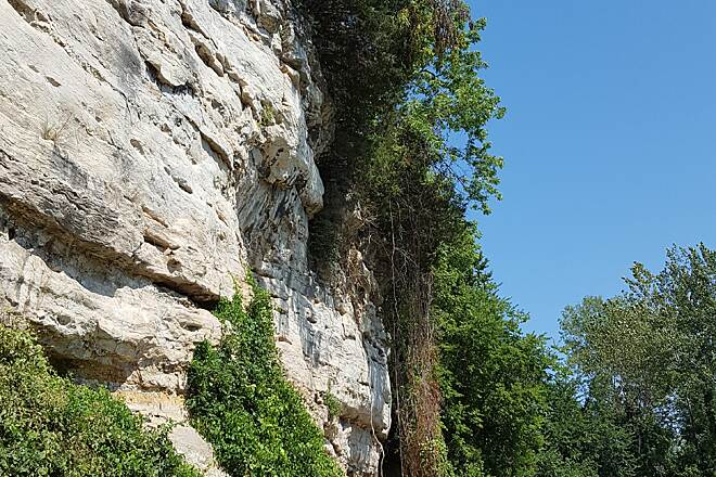 Katy Trail State Park Katy Trail State Park Limestone cliff wall near Rocheport, MO.