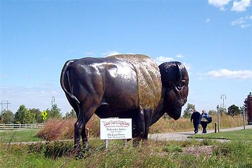 Kearney Hike and Bike Trail Cottonmill - Fort Kearny Trail Buffalo Sculpture