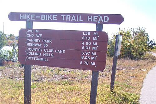 Kearney Hike and Bike Trail Pioneer's Path Distance Sign from Archway