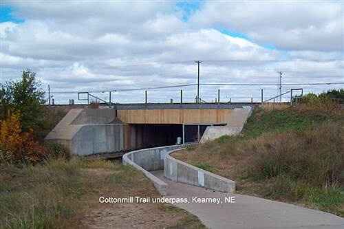 Kearney Hike and Bike Trail Trailrace Trail Going North -RR Underpass