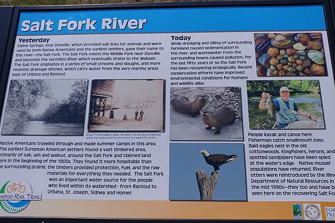 Kickapoo Rail Trail Salt Fork River history There are a couple of explanatory signs like this on the trail.