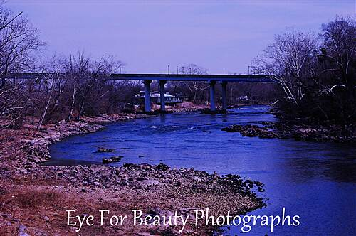 Kingsport Greenbelt Beautiful Holston River View of interstate bridge from swinging bridge at River Front Park