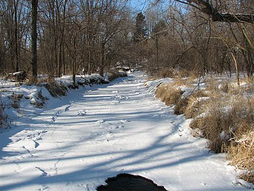 Kinstone Recreational Path  winter view of the creek