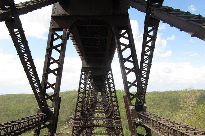 Kinzua Bridge Skywalk Under the skywalk Under the Skywalk - May, 2015
