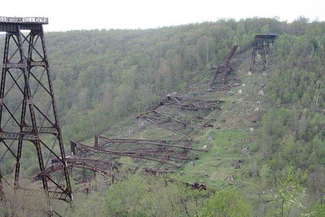 Kinzua Bridge Skywalk What's left of it Remains - May, 2015