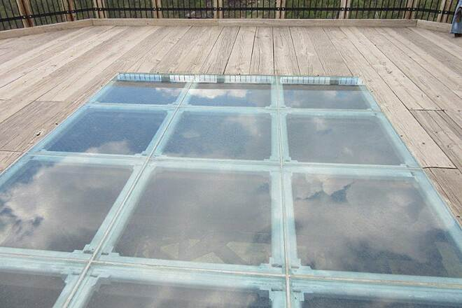 Kinzua Bridge Skywalk Glass floor Glass floor at the end of the skywalk you can look below