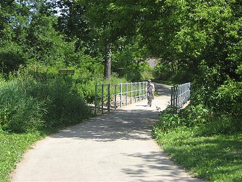 Kishwaukee-Kiwanis Trail   In Prairie Park, crossing Kish River