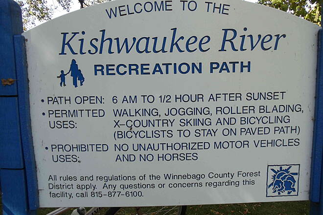 Kishwaukee River Recreation Path Trail Sign Trail information sign at Perryville Trailhead