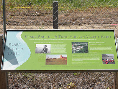 Klara Sauer Trail interpretive sign interpretive sign for Klara Sauer along the trail at the north end