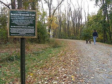 Klara Sauer Trail Beacon Riverside Trail This is a nicely wooded section of trail about 1/3 of a mile from the rail station.
