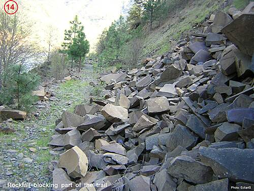 Klickitat Trail Klickitat Trail 14-Rockfall partially blocking the trail