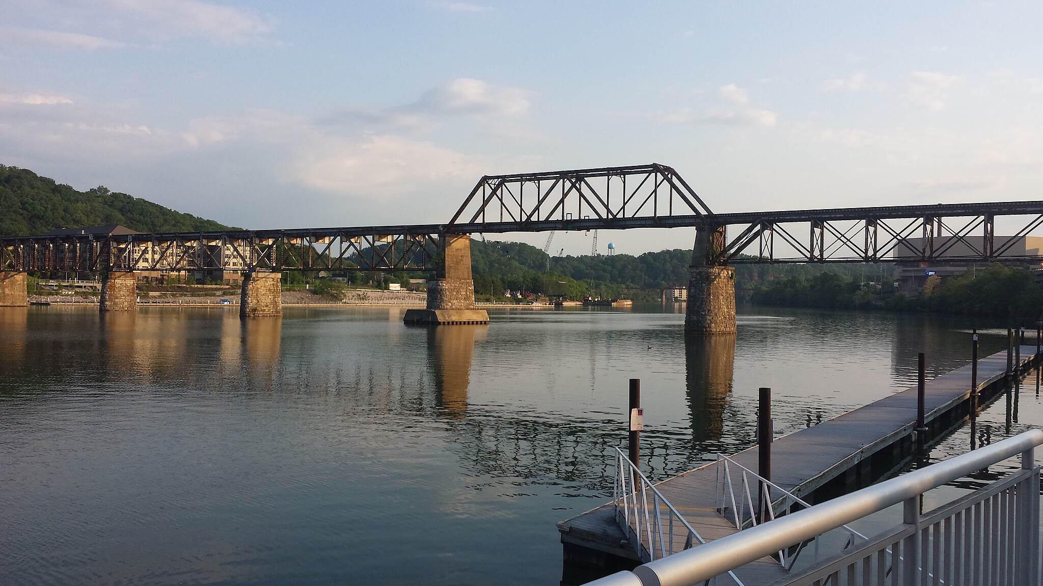 Knoxville City Greenways Tennessee River train bridge Neyland Greenway at Volunteer Landing