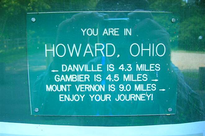 Kokosing Gap Trail HowardOHSign Sign describing location of Howard, OH rest stop