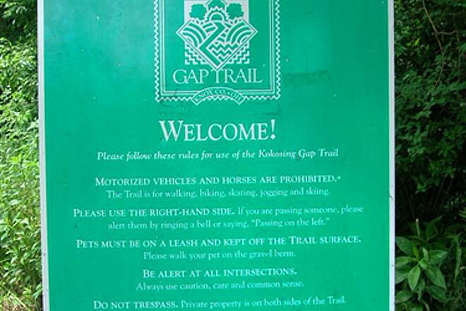 Kokosing Gap Trail TrailSign Sign describing trail dos and don'ts at trailhead in Mt Vernon