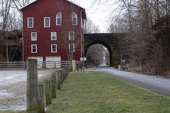 Kokosing Gap Trail Howard, Ohio  The Mill at Howard, OH and the bridge arch on trail