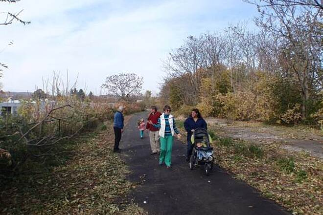 Lackawanna Rail Trail Family enjoys walking