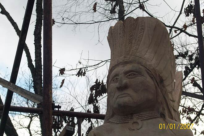 Lackawanna River Heritage Trail Indian Carving  nice indian carving in progress