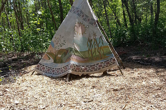 Lackawanna River Heritage Trail teepee teepee on taylor section behind indian carving