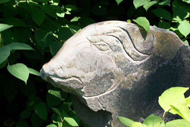 Lackawanna River Heritage Trail ram ram carving along the trail