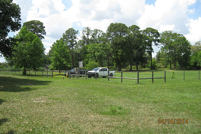 Lake Apopka Loop Trail Clay Island Trailhead The parking area at the Clay Island trailhead, viewed from the entrance to the trail.
