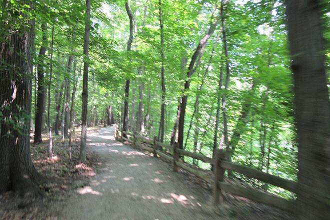 Lake Metroparks Greenway Corridor Path to waterfall You can ride your bike only so far through the woods to get to the waterfall