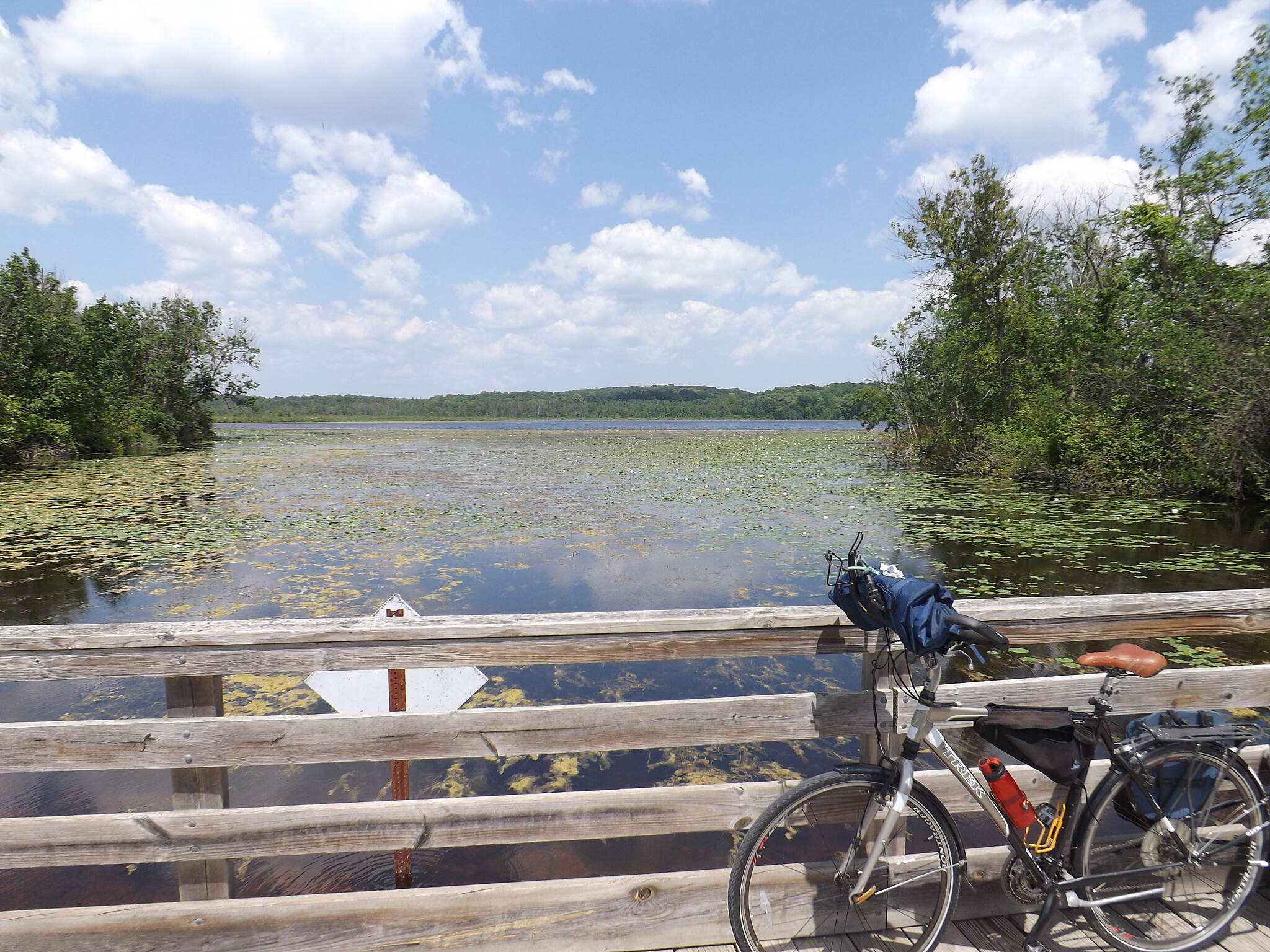 Lake to Lake Bike Trail (WI) Near Mauthe Lake Crossing the headwaters of the Milwaukee River.