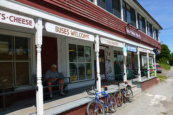 Lamoille Valley Rail Trail Ice Cream at Hastings Store Hastings Store in West Danville is a great stop for Ice Cream.  From Hastings Store it's about 15 miles from St. J and another 2 miles west to the current end of construction for this segment.  Great place to sit and watch the world go by!