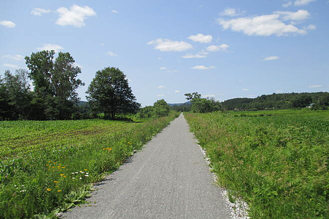 Lamoille Valley Rail Trail LVRT: Morristown to Cambridge There are some very nice stretches through cornfields that are absolutely beautiful.  In many areas you'll enjoy the new trail surface.  Ride on the weekends so construction crews may finish up!  Going to be a great trail very soon.